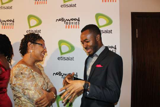 Isabella Akinseye interviewing O.C. Ukeje on the red carpet
