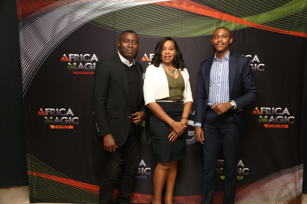 L-R: Yibo Koko, Head of Production, Africa Magic; Wangi Mba-Uzoukwu, Regional Director, Mnet (West); Efosa Aiyevbomwan, Publicity and Talent Lead, Mnet/Africa Magic at the Africa Magic Views Choice Awards (AMVCA) 2015 media briefing held at the Avenue Suites, Victoria Island, Lagos on Tuesday 13th January, 2015.